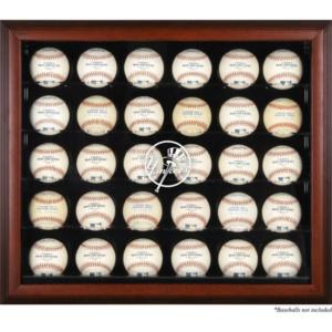 New York Yankees Fanatics Authentic Logo Mahogany Framed 30-Ball Display Case