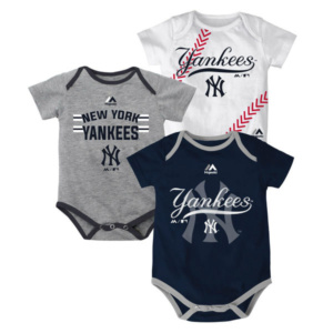 f42d11d584d New York Yankees Majestic Newborn   Infant Three Strikes Bodysuit Set