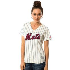 New York Mets Majestic Women's Fashion Stars & Stripes Cool Base Jersey – White