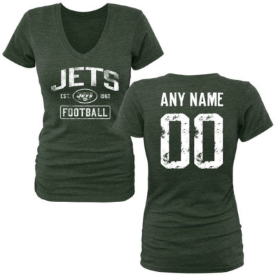 WOMEN'S GREEN NEW YORK JETS DISTRESSED CUSTOM NAME & NUMBER TRI-BLEND V-NECK T-SHIRT-