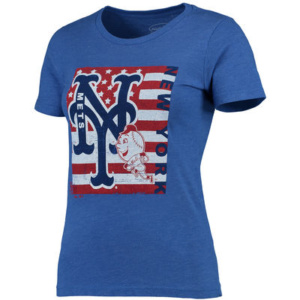 New York Mets Majestic Threads Women's Stars & Stripes Flag T-Shirt – Royal-