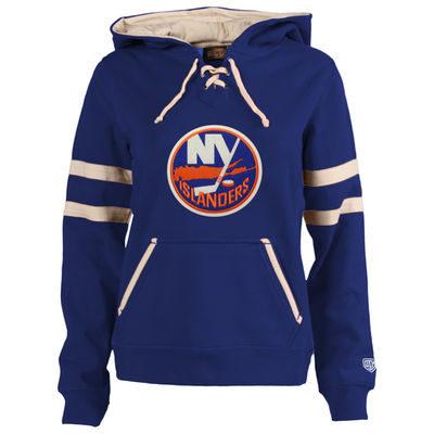 Women's New York Islanders Old Time Hockey Rose Grant Lace-Up Slim Fit Hoodie-