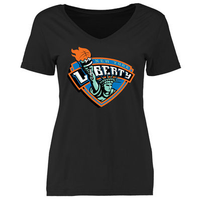 New York Liberty Women's Primary Logo Slim Fit T-Shirt – Black-