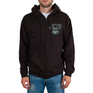 Men's New York Jets  Black Comeback Route 2-Hit Full Zip Hoodie