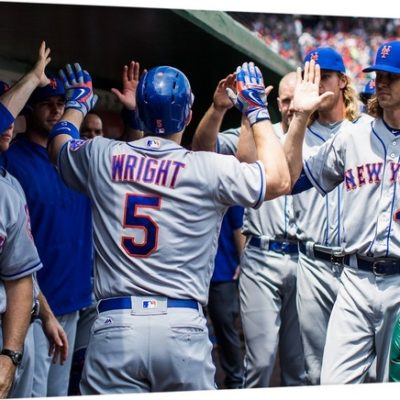 David Wright of the New York Mets hi-fives his teammates Wall Art