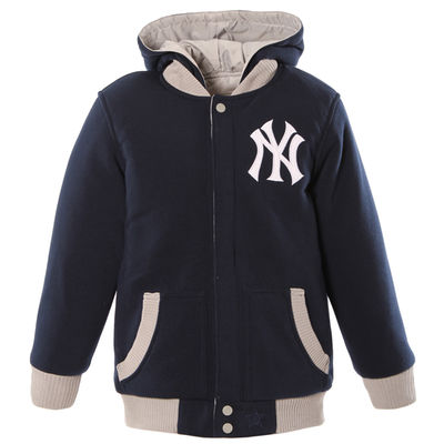 Youth New York Yankees JH Design Navy Gray Fleece Hooded Reversible Jacket 4da19c290c9