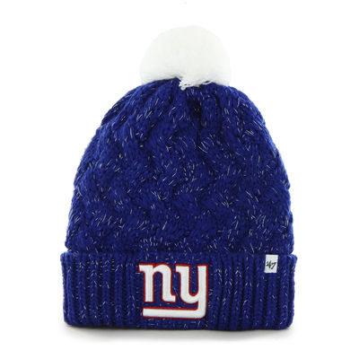 New York Giants '47 Brand Womens Fiona Cuff With Pom Knit Beanie – Royal Blue