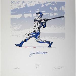 Joe DiMaggio Signed Silver Carlo Beninati 25×32.5 Lithograph (Carlo Beninati Auth)
