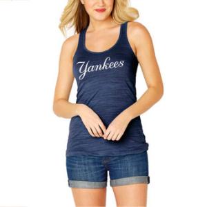 Women's New York Yankees Soft As A Grape Navy Front & Back Tri-Blend Racerback Tank Top