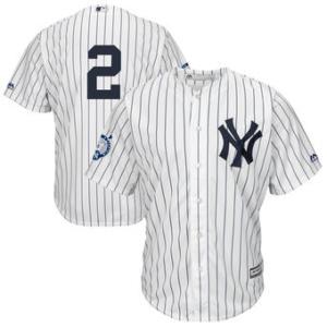 New York Yankees Derek Jeter Majestic White/Navy Big & Tall Home Retirement Patch Jersey