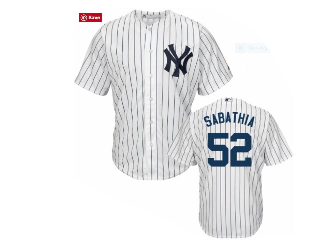 save off 3b215 362bb New York Yankees C.C. Sabathia Replica Home Baseball Jersey-
