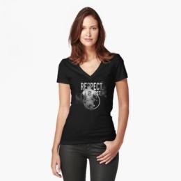 Women's Fitted V-Neck T-Shirt derek Jeter Respect 2 by pablomarima