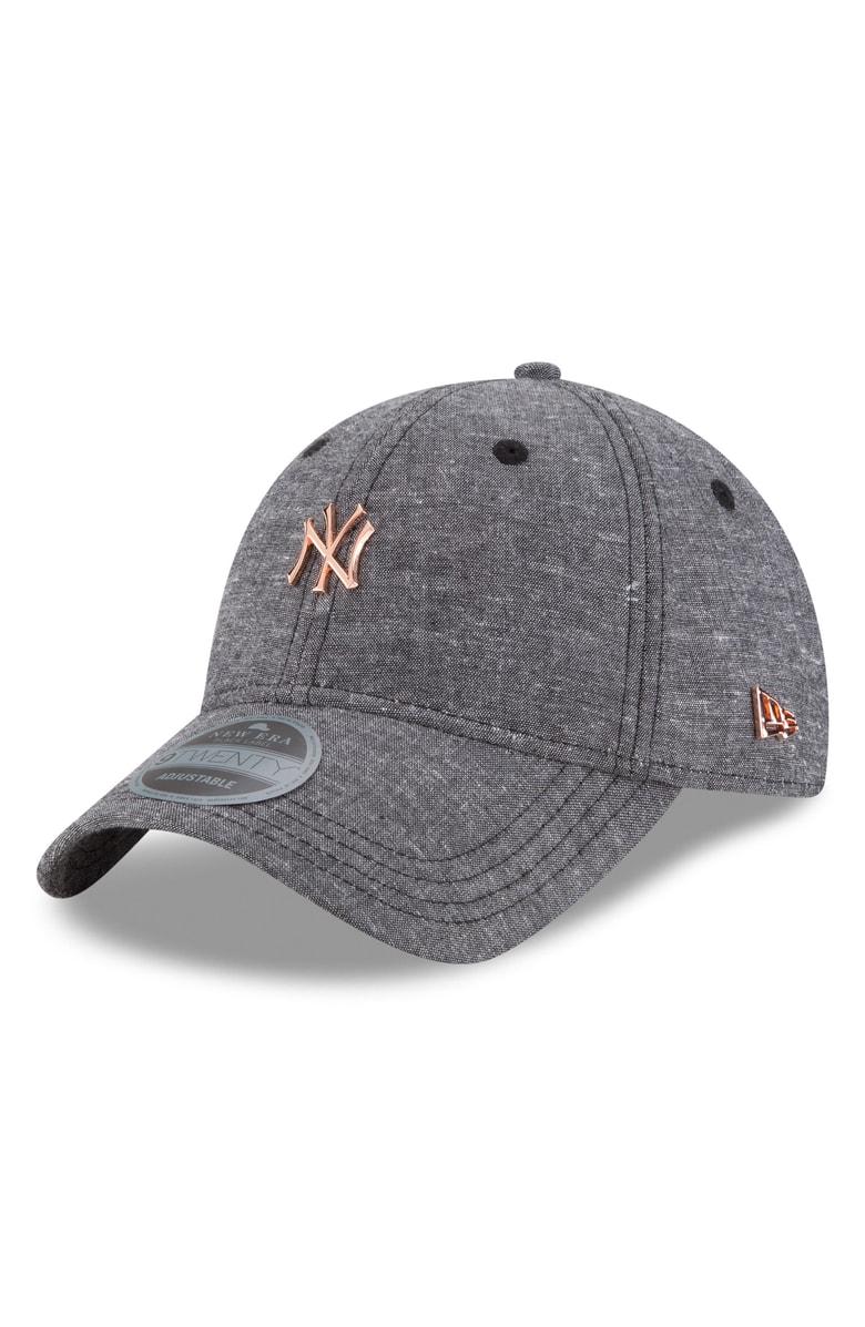 c7ac2be8ea3 NY YANKEES Badged Black Label Linen   Cotton Ball Cap NEW ERA CAP ...