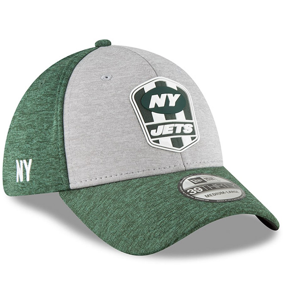 quality design d51e3 0fa5d New York Jets New Era 2018 NFL Sideline Road Official 39THIRTY Flex Hat –
