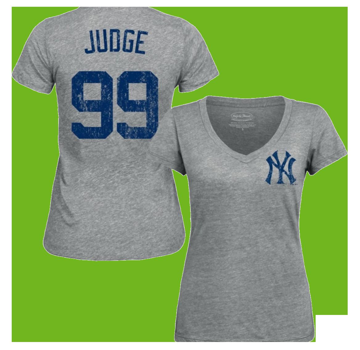 Majestic Threads Women's New York Yankees Aaron Judge V-Neck T-Shirt