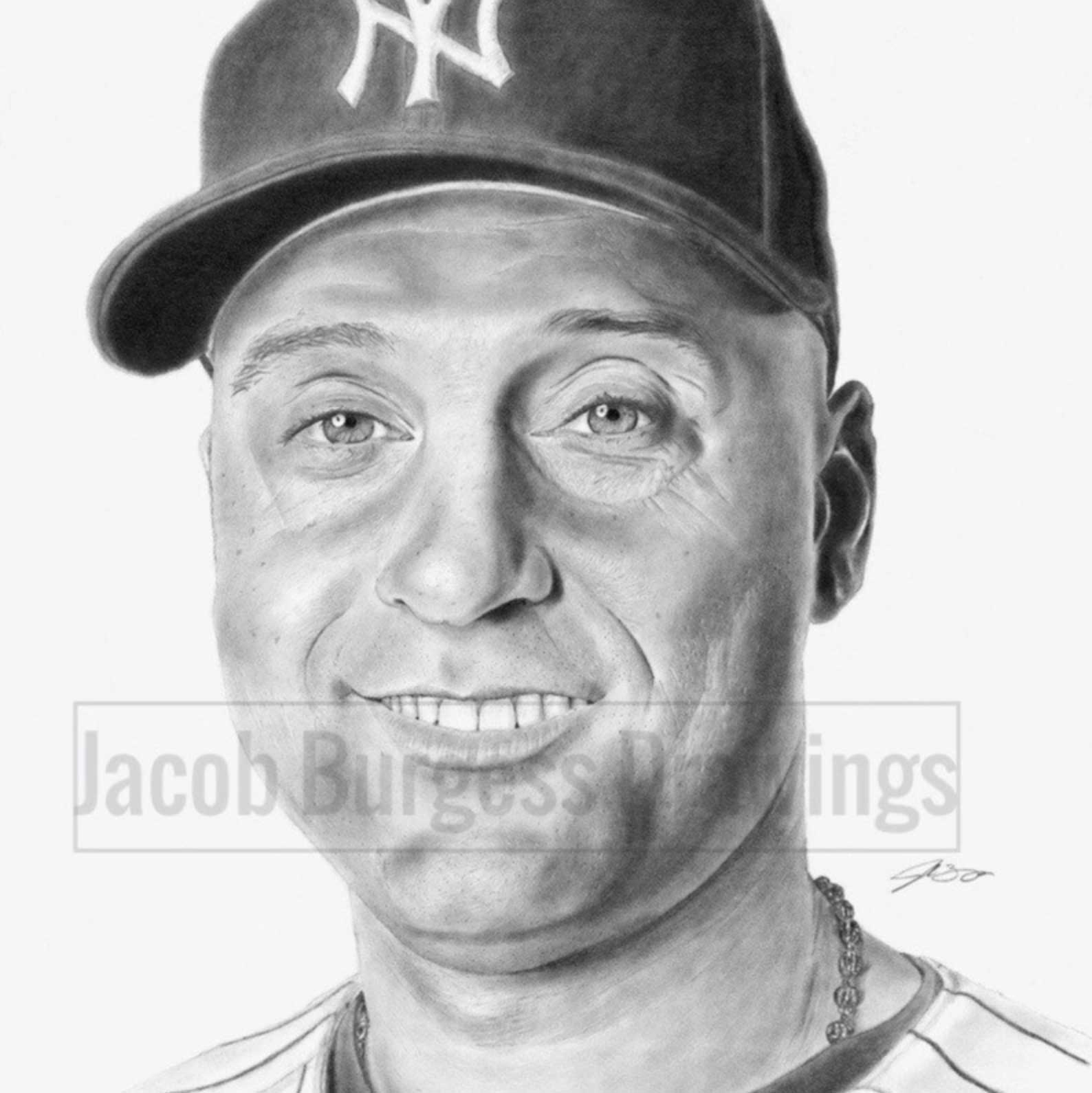Derek Jeter 11″x14″ Print from Original Drawing #d to 300 New York Yankees